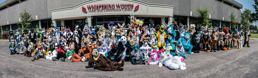 Fursuits in front of the hotel